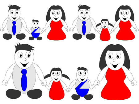 children holding hands: Happy family - man, woman and children holding hands