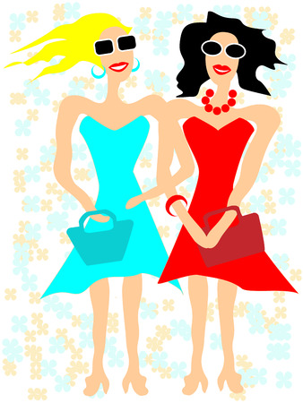 girlfriends: Girlfriends in sunglasses going to buy