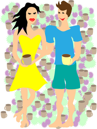 woman drinking coffee: A man and woman drinking coffee on a date