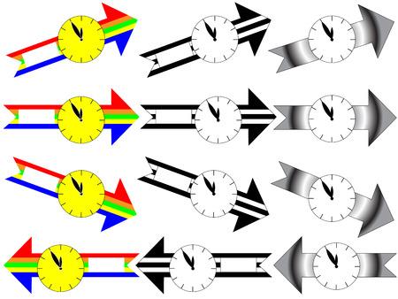 minutes: Arrow clock showing five minutes to twelve Illustration