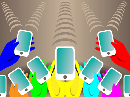 mobile phones: Background with colored mobile phones in the hands of