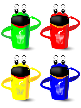 sorting: Waste sorting in blue, yellow, green and red dustbins Illustration