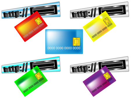cashless payment: Card for online payments put into the the browser