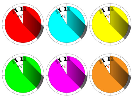 five to twelve: Clock showing five minutes to twelve in 6 color variations