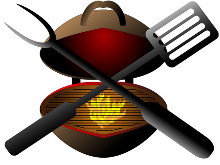 barbecue grill: Styled garden grill with burning fire prepared for grilling and barbecue