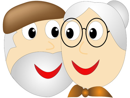 adoring: Elderly woman with a bun looks up adoringly stared into the eyes of an older bearded man with a hat Illustration