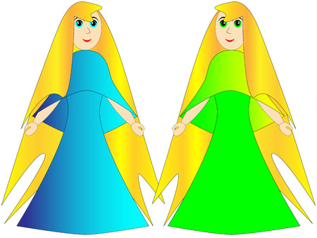 longhaired: Long-haired blond princess or fairy in a long blue and green dress