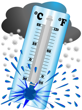 so that: Cold and frost is so strong that it causes such a low temperature until the thermometer explodes
