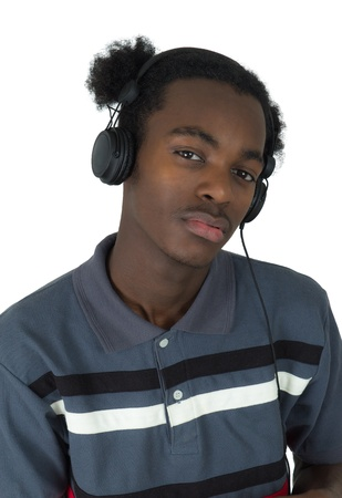 African American man listening to music isolated photo