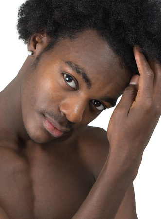 beautiful African American man black and white with long hair black isolated photo