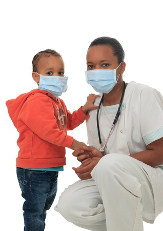 Black African American nurse with child isolated metisse stethoscope infirmiere Stock Photo - 12936773