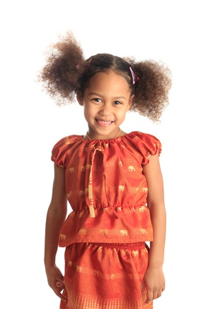 afro american beautiful girl with black curly hair isolated women metisse asian photo