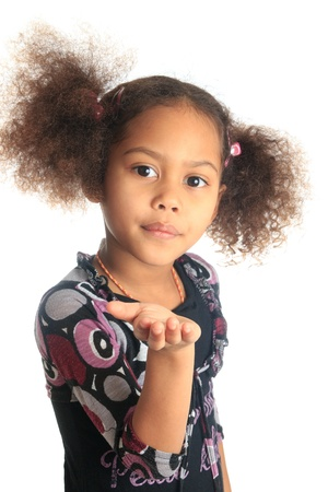 afro american beautiful girl with black curly hair isolated women metisse asian Stock Photo