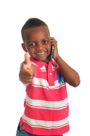 american content: African American child with black telephone isolated metisse hair curly Stock Photo