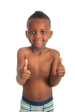 African American child shirtless black curly hair isolated metisse photo