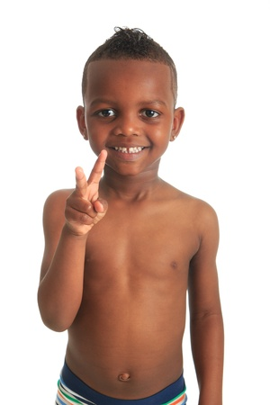 African American child shirtless black curly hair isolated metisse Stock Photo