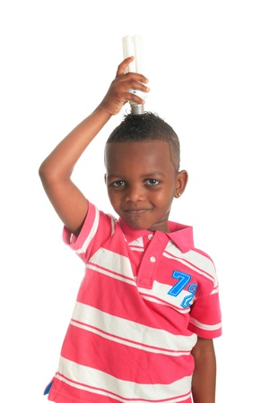 African American child with black bulb isolated metisse hair photo