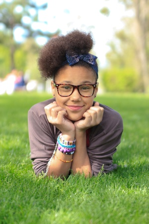 african american black girl child to the park metisse african Stock Photo - 13407342