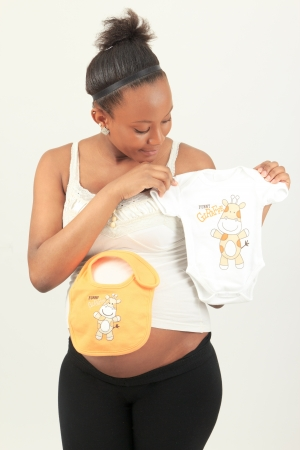 black African woman pregnant metisse isolated beautiful Stock Photo - 13770274
