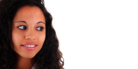 mixed race ethnicity: Portrait of Beautiful Woman african black metisse Stock Photo