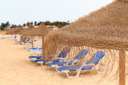 palapa sun roof beach umbrella in cape verde sal Stock Photo - 14725128
