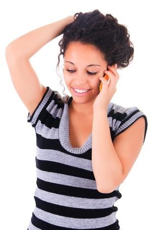 happy phone woman black african