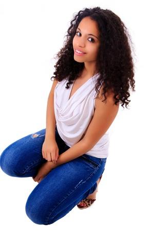 Portrait of Beautiful Woman african black metisse Stock Photo