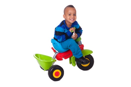 child on his bicycle black color african photo