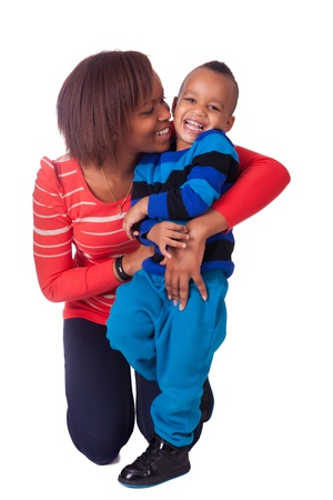africa kiss: Mother and son laughing african black Stock Photo