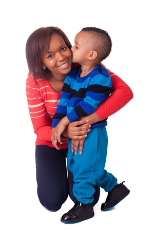 kiss mother and child african black woman children