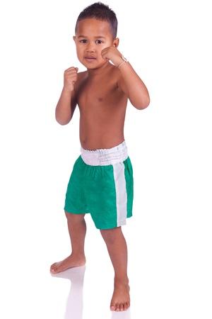 muay: asian boy children before a fight