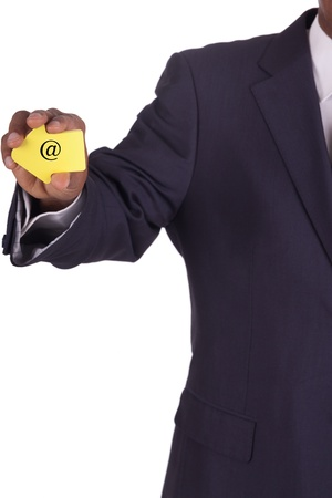 businessman with a notiz in hand photo