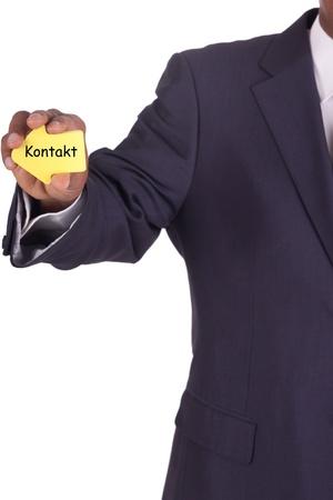 businessman with a notiz in hand photo