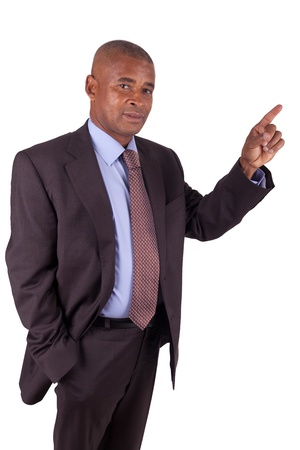 African American business man showing something on white photo
