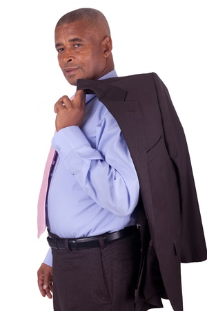 African American business man with coat over shoulders on white background Stock Photo - 16305366