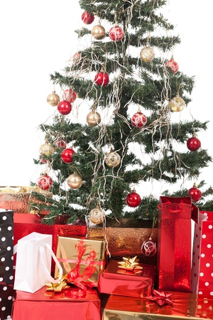 Christmas Tree and Gifts  Over white background  photo