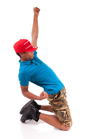 African dancer breakdance isolated over white background Stock Photo