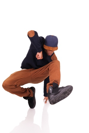 African dancer breakdance isolated over white background photo