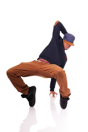 dancing pose: African American dancer hip hop  isolated