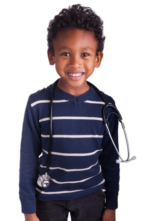 Indian little boy with stethoscope isolated photo