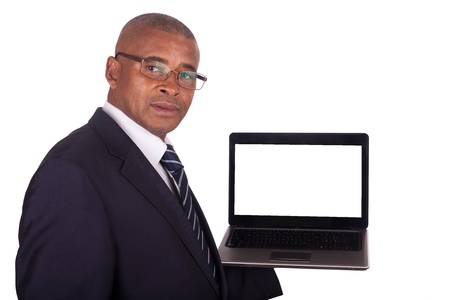 African American business man with a laptop Stock Photo