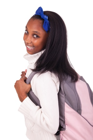 elementary students: Portrait of young african student with bag