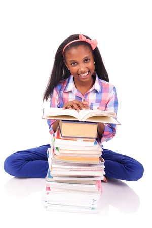 young african Student isolated read a book Stock Photo - 17822731