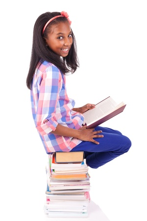 young african Student isolated read a book photo