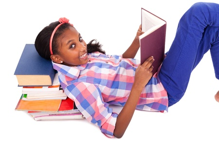 afro american: Little girl studying isolated on white background