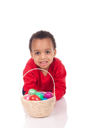 Child Boy kid holding up his easter basket photo