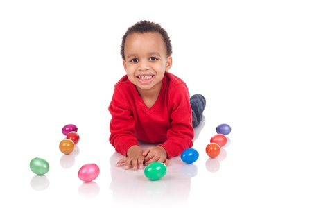 boy with easter eggs, isolated on white photo