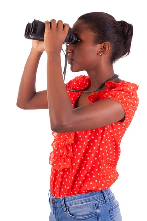 African American using binoculars isolated over white background Stock Photo - 18068679
