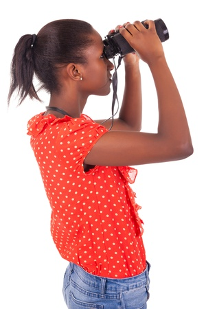 African American using binoculars isolated over white background photo
