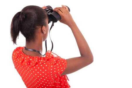 African American using binoculars isolated over white background Stock Photo - 18068670